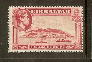 Gibraltar, Scott #109, 1 1/2p King George VI, MH