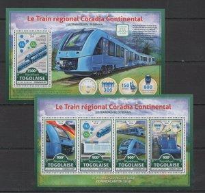 TG031 2016 TOGO TRANSPORT TRAINS REGIONAL CORADIA CONTINENTAL KB+BL MNH