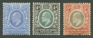 EAST AFRICA & UGANDA PROTECTORATES #20, 22, 23 MINT