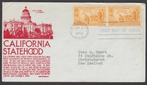 USA 1950 California C Stephen Anderson FDC to New Zealand...................L928