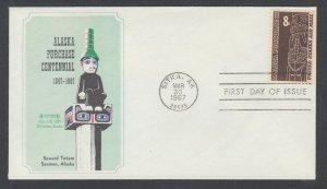 US Planty C70-A FDC. 1967 8c Alaska Purchase, John F. Grainger FIRST CACHET