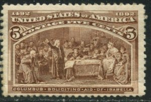 US Sc#234 1893 5c Columbian F-VF Centered OG Mint Hinged with Crease