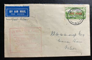 1932 Westport New Zealand First Flight Airmail Cover FFC To Nelson Sc#C4 B