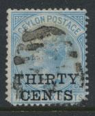 Ceylon  SG 169 Used Opt Surcharge