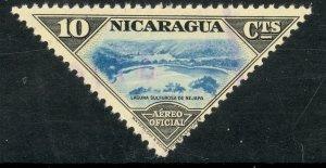 NICARAGUA 1947 10c Lake Nejapa Triangle Airmail Official Sc CO38 VFU