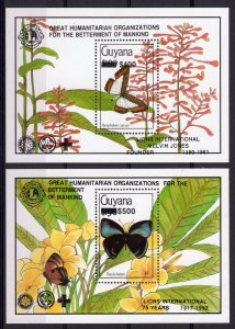 Guyana 1992 BUTTERFLIES/LIONS INT.75 YEARS 2 S/S Black ovpt.Perforated MNH