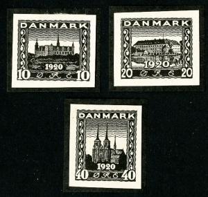 Denmark Stamps 3 Black 1920 Essays