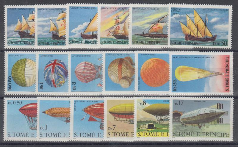 St. Thomas & Prince Sc 534/566 MNH. 1973 issues, 3 cplt sets VF