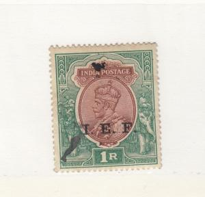 INDIA  # M43 VF-USED 1r  KING GEORGE V /O/PRINT I.E.F. GREEN & RED BROWN