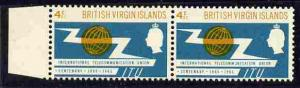 British Virgin Islands 1965 ITU 4c pair, one stamp with '...