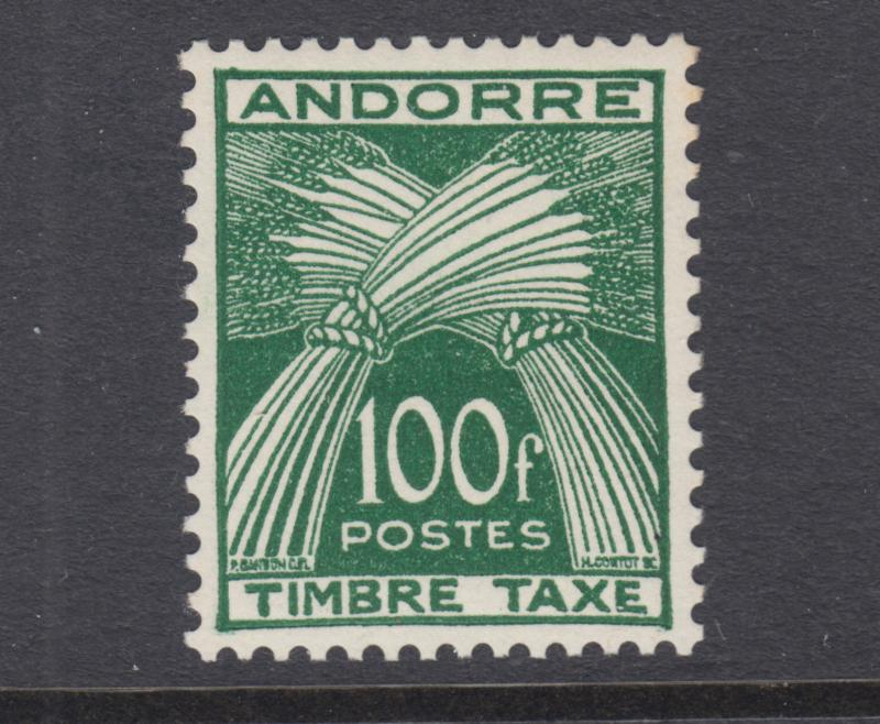 Andorra, French, Scott J41 MLH. 1953 100fr deep green postage due, top value
