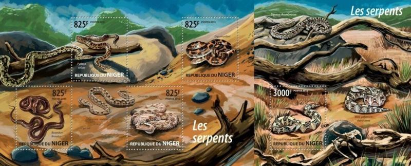 Niger 2015 reptiles snakes klb+s/s MNH