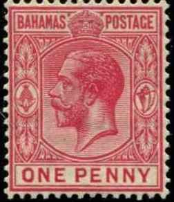 Bahamas SC# 72 SG# 116 George V wmk 4  perf 14 1d MH
