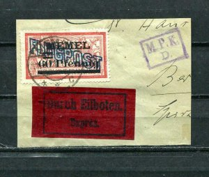 Lithuania/Memel 1921 Airmail on piece of Cover Signed Petersen BPP Mi 40 7526