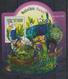 Sierra Leone MNH S/S Peacocks 2015