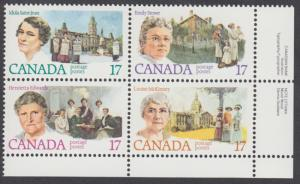 Canada - #882a - Canadian Feminists Plate Block - MNH