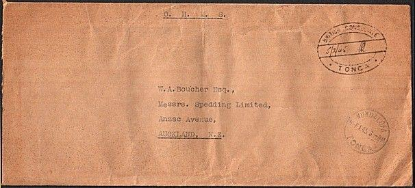 TONGA 1945 OHMS cover to NZ - British Consulate handstamp - unusual........14496
