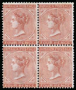 Jamaica Scott 4 Gibbons 4 Block of Stamps