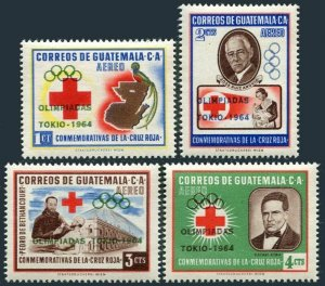 Guatemala C283-C286,MNH.Michel 718-721. Olympics Tokyo-1964.Red Cross overprint.