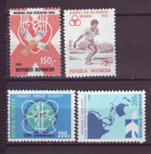 J21098 Jlstamps 4 1980 indonesia mh sets of 1 #1073,1082,1100,1101 designs