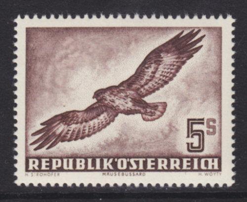 Austria Sc C58 MNH. 1953 5c red brown Buzzard, VF Bird