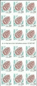 Pine Cone Pane of Eighteen 29 Cent Postage Stamps Scott 2491a