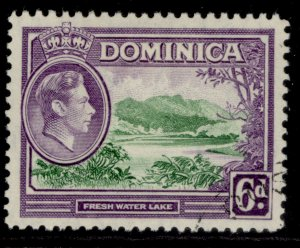 DOMINICA GVI SG105, 6d emerald green & violet, FINE USED.