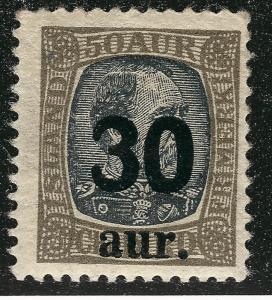 MNH Iceland #137 Overprint  F-VF  Disturbed Gum SCV$45
