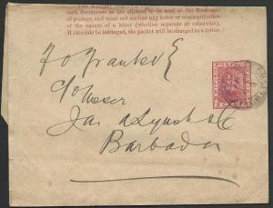 BR GUIANA 1892 2c newspaper wrapper used Georgetown to BARBADOS............49660