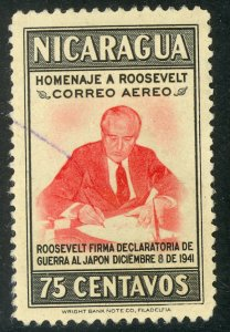 NICARAGUA 1946 75c FRANKLIN D ROOSEVELT Airmail Issue Sc C273 VFU