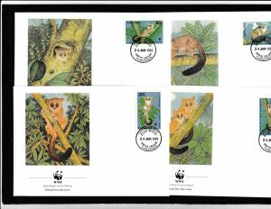 Tanzania - Fauna WWF - 4 FDC - GARNETT'S GALAGO