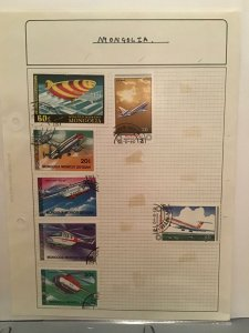 Mongolia Air Travel stamp page R24457
