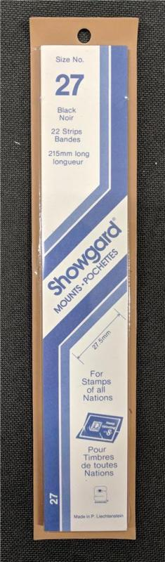 Stamp Mounts Supplies Showgard #27 New 22 strips 27mm by 215mm Black background