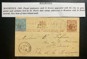 1905 St Pierre Mauritius Stationery Postcard Cover To St Denis Reunion Island