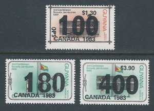 Guyana #650-2 NH Scout Jamboree Issue Ovptd. Canada 1983 & Surcharged