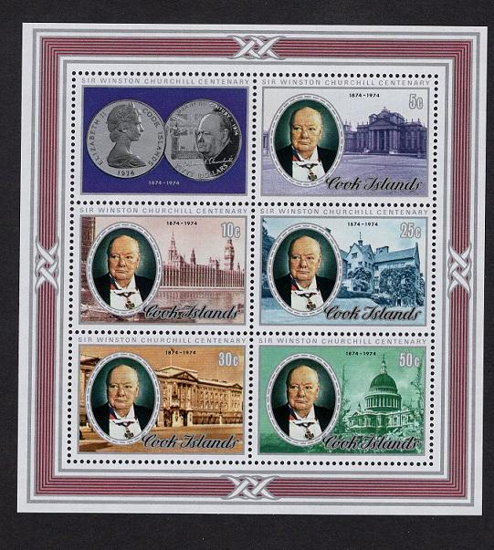 Cook islands  1974  MNH   #421a   sheet  Churchill