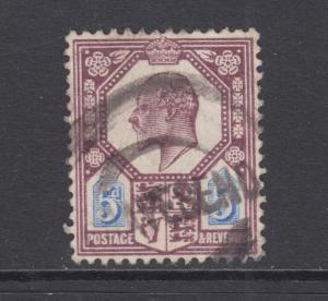 Great Britain Sc 134 used 1902 5p dull purple & ultra KEVII, F-VF