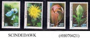 INDIA - 1982 HIMALAYAN FLOWERS 4V MNH