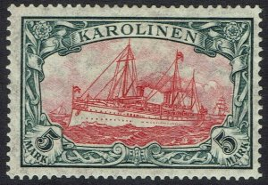 CAROLINE ISLANDS 1915 YACHT 5MK WMK LOZENGES PERF HOLES 26 X 17
