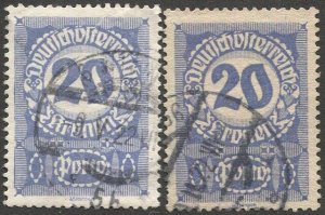 AUSTRIA 1921  Sc J92-J92a  20k Postage Due Used  VF, White & Gray paper