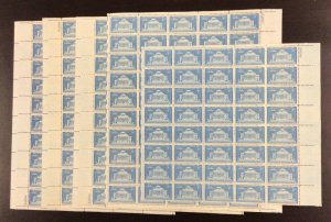 1029 Columbia University 200th Anniv  Lot of 4 3/4 sheets MNH 3 c Sheet of 50