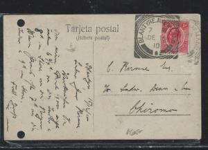 NYASALAND (P2709B) 1910 KE 1D ON PPC TO CHIROMO