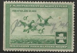 UNITED STATES  RW4  SIGNED, STRAIGHT EDGE, SCAUP DUCKS, HUNTING PERMIT STAMP