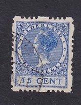 Netherlands  #181b  used  1928  Wilhelmina  syncopated 4 sides  15c  ultra