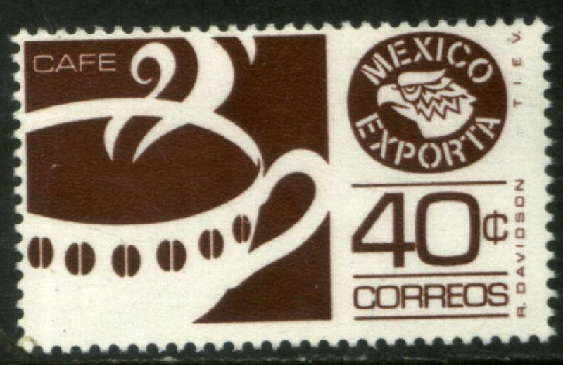 MEXICO EXPORTA 1111a, 40cts COFFEE PAPER 1 CLARET BROWN MNH
