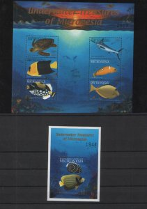 030835 MICRONESIA 2001 Underwater Treasures 6 stamps +S/S
