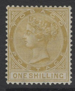 TOBAGO SG12 1880 1/= YELLOW-OCHRE MTD MINT