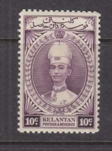 KELANTAN, MALAYSIA, 1937 Sultan, 10c. Purple. lhm.