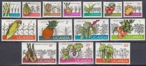 Uganda 1975 FRUITS & VEGETABLES set (14v) Perforated Mint (NH)