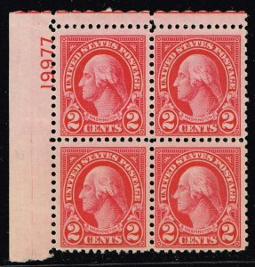 US STAMP  # 634 2c Rotary Press 1926-28 MNH BLK OF 4 STAMP PL#